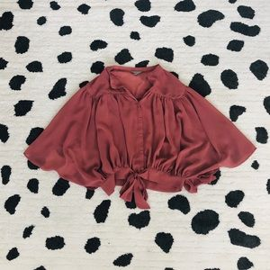 Rubbish Dusty Rose Pink Tie Waist Flowy Top S
